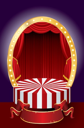 comedy background:   circus stage with red curtain and blank banner