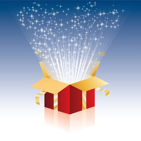 illustration with magic gift box Stock Vector - 8052584