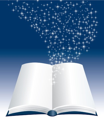 mistic:  open book with stars inside Illustration
