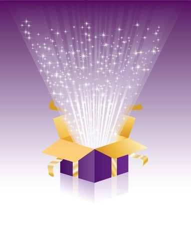purple stars:   illustration with violet magic gift box