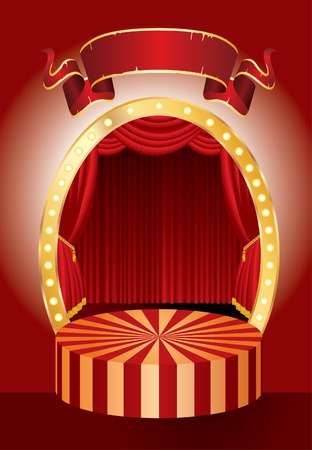 opera:   red circus stage with red curtain and blank banner