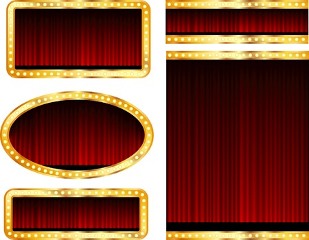 blank abstract stage displays with red curtain Vector