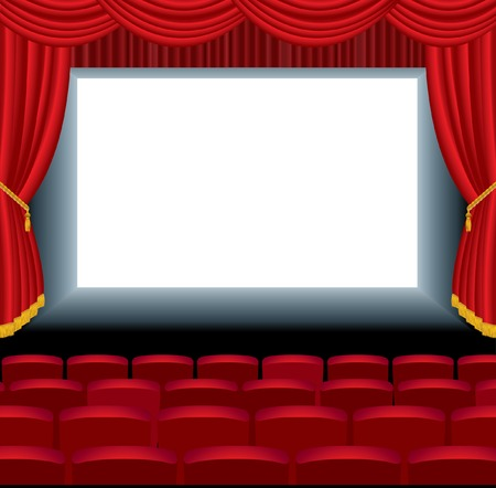 theatrical performance:  illustration of the empty cinema with free bottom layer for your image Illustration