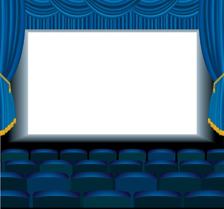 illustration of the empty blue cinema with free bottom layer for your image Vector