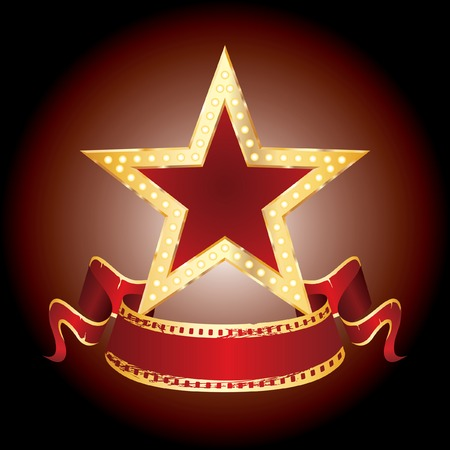 neon sign:  golden star with blank banner