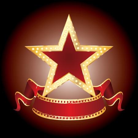 vegas strip:  golden star with blank banner