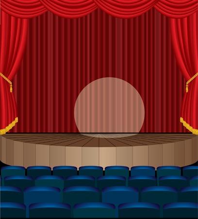 illustration of the empty theater with red curtain