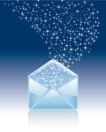 opened magic mail with stars Stock Vector - 8087567