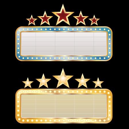 movie sign: dos vallas publicitarias en blanco  Vectores