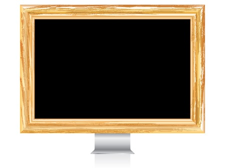 abstract monitor with grunge golden frame Stock Vector - 8110829