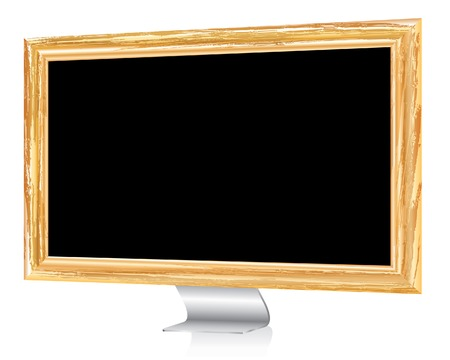 abstract monitor with wooden frame Stock Vector - 8110828