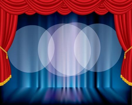 broadway show:   palco con sfondo sfocato e tre faretti