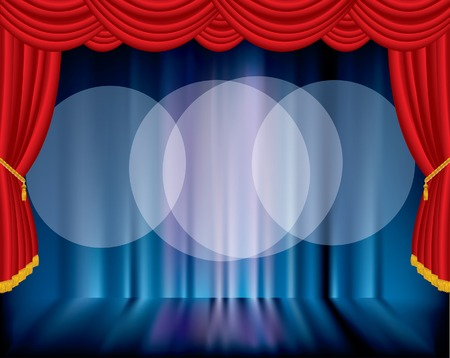 broadway show:   stage with blurry background and three spot lights
