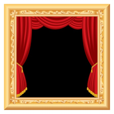 abstract composition with stage inside baroque frame, layered and fully editable Vector