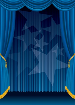 blue stage with spotlight stars  Stock Vector - 8110836