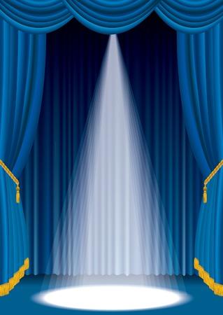 escenario azul con una luz blanca de tintas plana