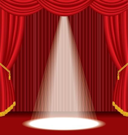 red stage with one white spot light Vector