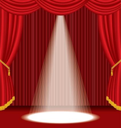 broadway show: stadio rosso con una luce bianca di spot