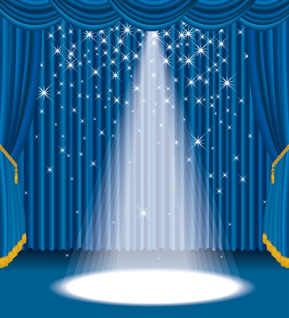 blue stage with falling stars  Vector