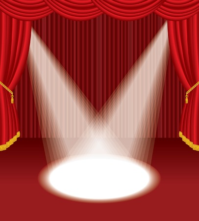 empty red stage with two spot lights  Vector