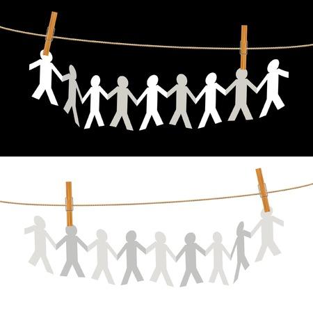 mu�ecas de papel: Ilustraci�n simb�lica con la gente en la cuerda  Vectores
