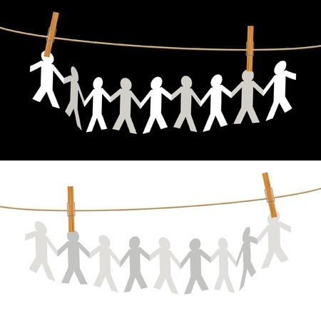 hand holding paper:  symbolic illustration with people on rope Illustration