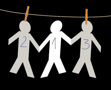 symbolic illustration with winners on rope Vector