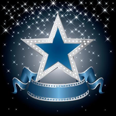 noche estrellada: metal estrella azul en la noche estrellada  Vectores