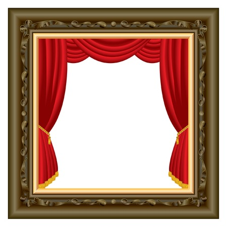abstract composition with stage inside brown baroque frame, layered and fully editable Vector