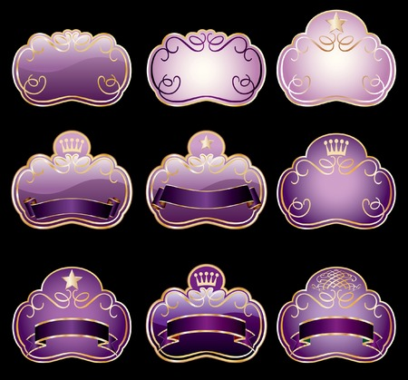 nine violet labels for various products Vector