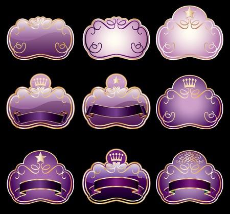 estrellas moradas: nueve etiquetas violetas para varios productos