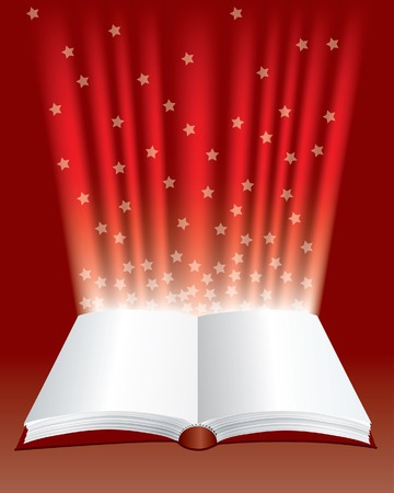 open magic book with stars Vector