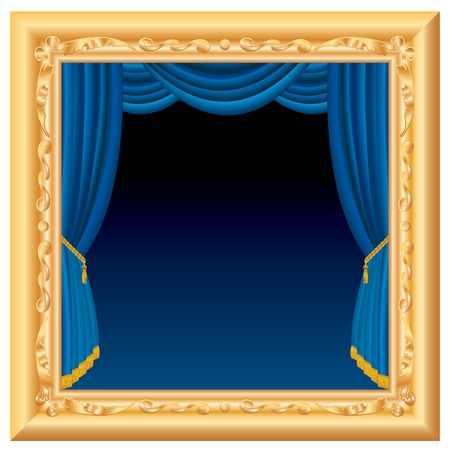 blue velvet:  abstract composition with blue stage inside baroque frame, layered and fully editable