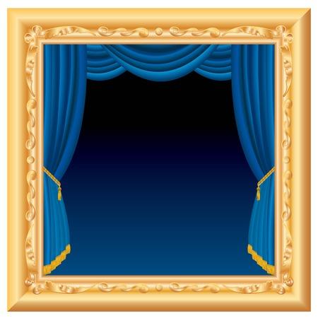terciopelo azul: composici�n abstracta con etapa azul dentro de marco barroco, con capas y totalmente editable  Vectores