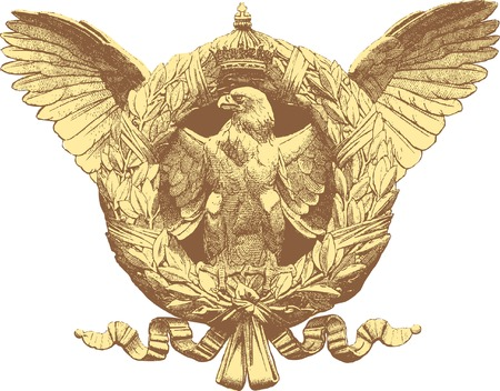 vintage drawing of the eagle with crest and crown Stock Vector - 8215233
