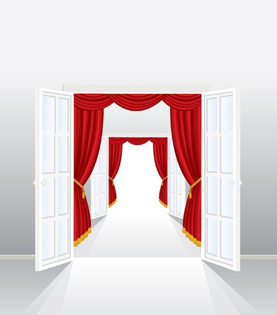 baroque room:   illustration of the entrance with red curtain Illustration