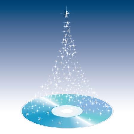 illustration of the magic Christmas CD Vector
