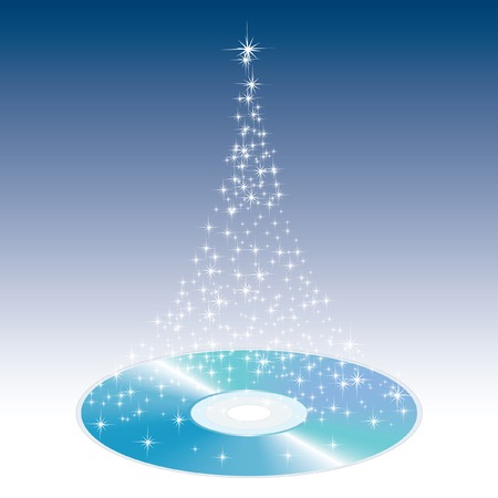 tree disc:  illustration of the magic Christmas CD Illustration