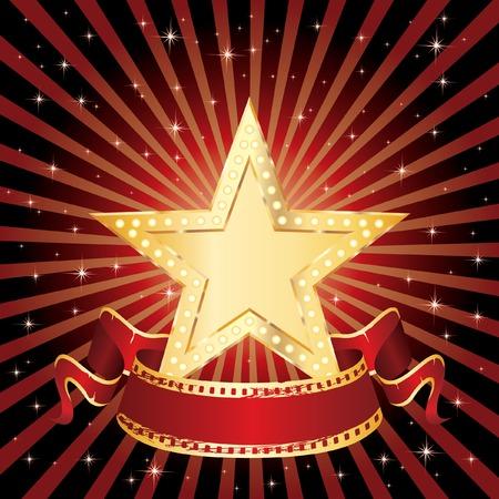 noche estrellada: estrella de cine de oro en blanco en la noche estrellada  Vectores