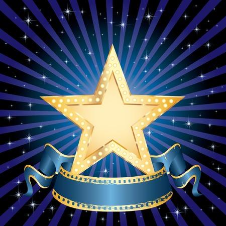 estrella de cine de oro en blanco en la noche estrellada