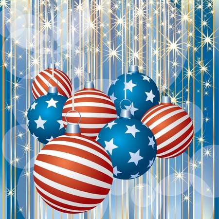 abstract Christmas background with patriotic balls  Vector