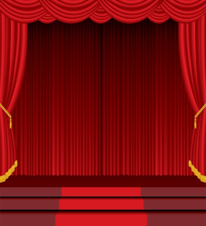 empty stage with red carpet on stairs Vector