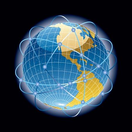 parallel world:  abstract satellites around the world
