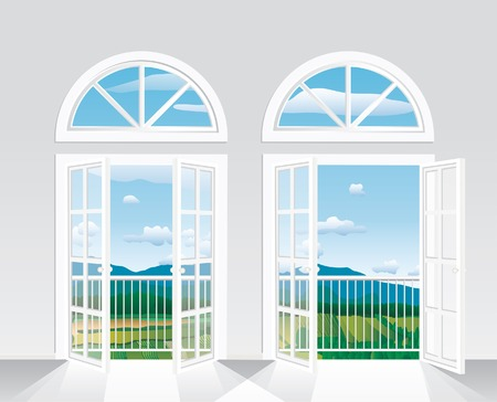 puertas de cristal: bella vista desde la habitaci�n blanca al paisaje  Vectores