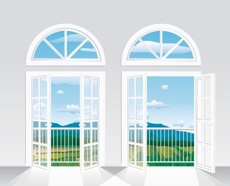 Mooi uitzicht vanaf de witte kamer op liggend  Stockfoto - 8221057