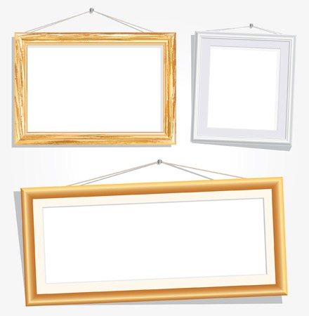 blank empty frames on white wall Vector
