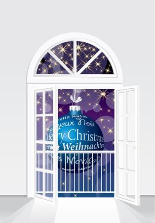 white window: Tarjeta de Navidad en p�rpura y azul  Vectores