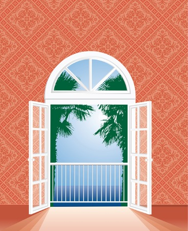 view on tropic sea from hotel room, fully editable, layered   Vector