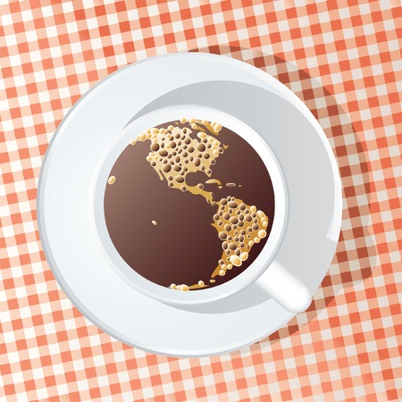 abstract illustration of the Americas in the cup of coffee Vector