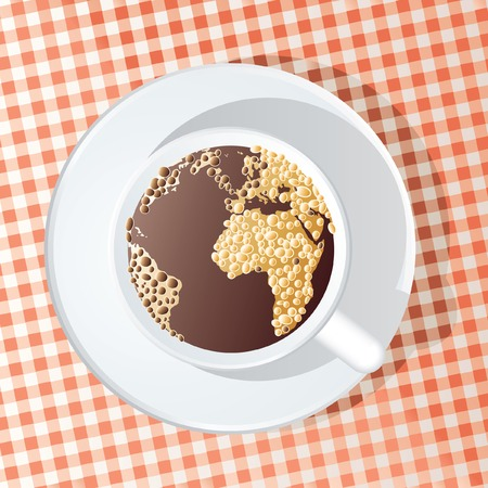 abstract  illustration of the globe in the cup of coffee Vector